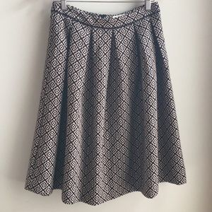 Champagne and Strawberry pleated midi skirt